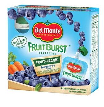 Del Monte Fruit Burst Squeezers Blueberry Fruit Veggie