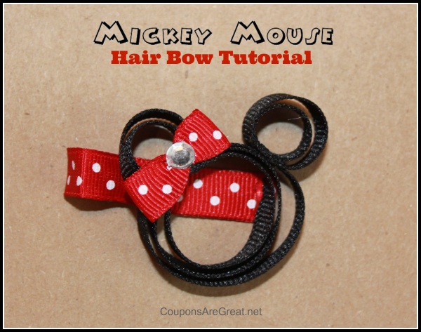 This Minnie Mouse hair bow tutorial walks you step by step through the process of making an adorably cute hair bow