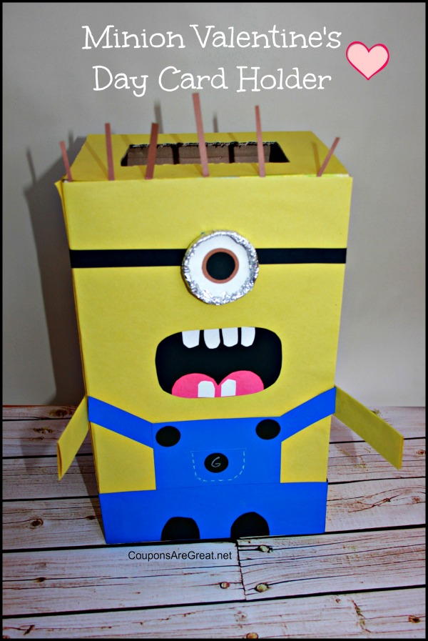 minion valentines day card holder