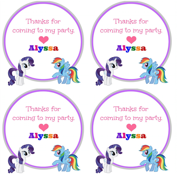 mlp goody bag thank you tags