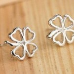 silver shamrock earrings