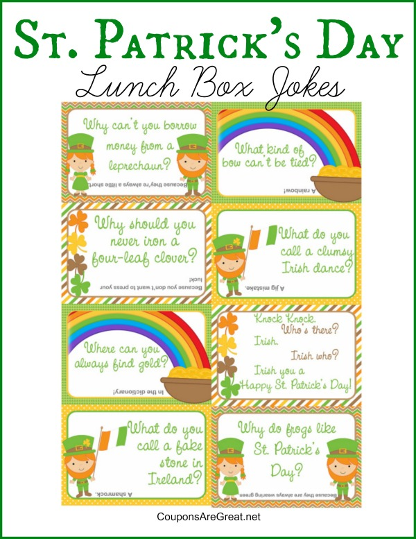 Printable St. Patrick's Day Lunch Box Notes Using St. Patricks Jokes for Kids