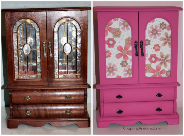 thrift store jewelry box makeover before and after comparison