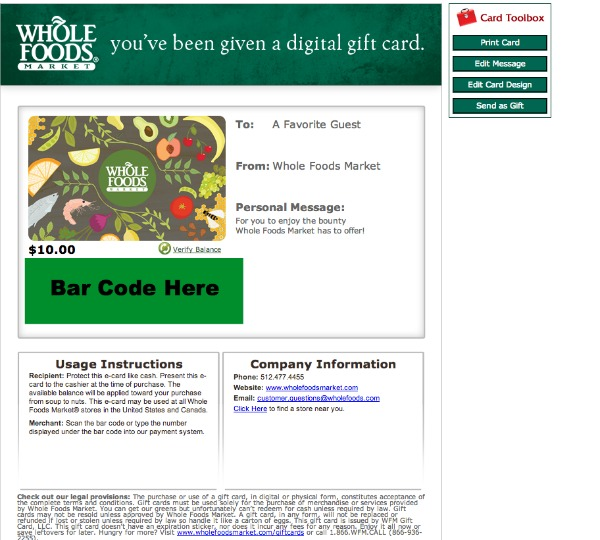 $10 Whole Foods Market Gift Card Only $5 from Groupon (Limited Quantity)