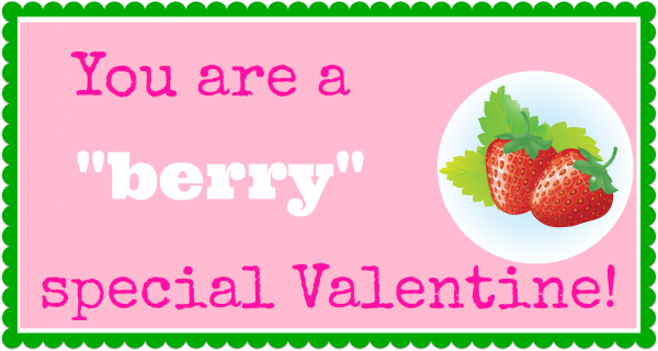"Use this ""you are a berry special valentine"" printable on some homemade chocolate covered strawberries for a super sweet Valentine's treat."