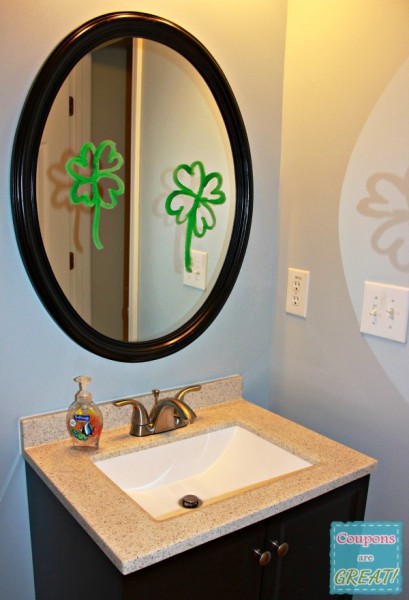A shamrock painted mirror is fun for a Leprechaun to leave behind.