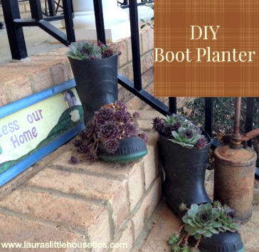 earth day craft upcycle boot planter