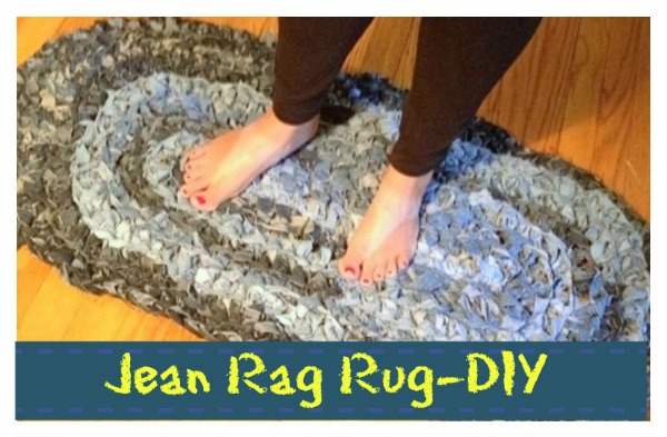 earth day crafts denim jeans rug upcycle