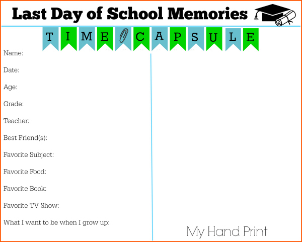 Last day of school memories handprint time capsule hand print 600.jpg