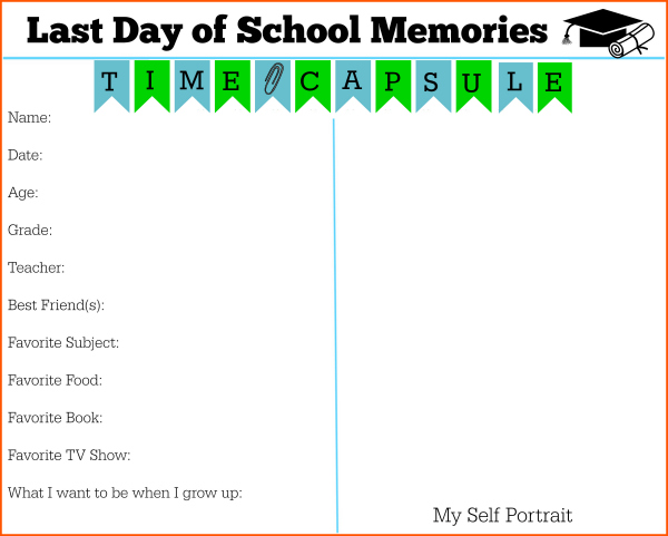 Last day of school certificate to preserve memories