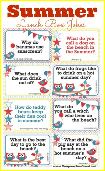 photo regarding Lunch Box Jokes Printable named Printable Summer months Lunch Box Notes Getting Summertime Jokes for Young children