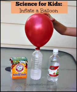 Inflate a balloon with baking soda and vinegar.