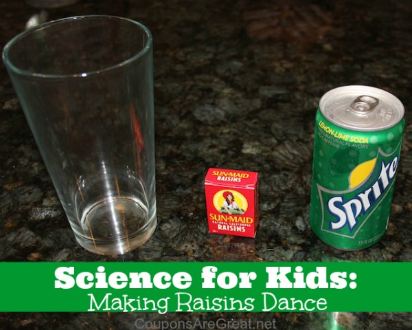 Making raisins dance is one of the best science experiments for kids. You may even have everything you need.