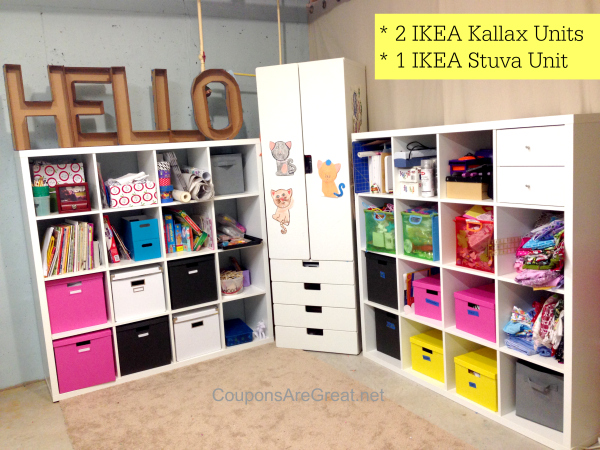 Craft room storage with IKEA furniture.