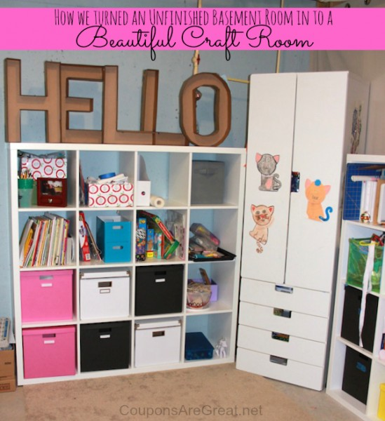 Using IKEA shelves you can create all the space you need for a craft room.