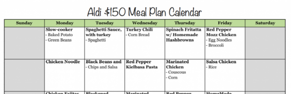 ALDI Calendar 150 Meal Plan