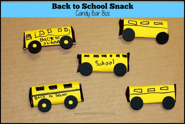 Create a fun Back to School snack with a candy bar turned in to a bus.