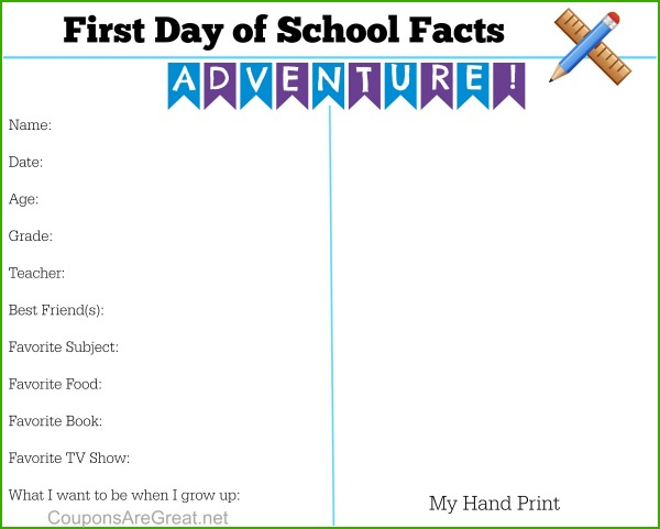 first day of school memory page hand print