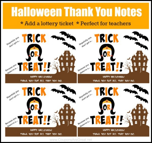 Printable Halloween Thank You Note Perfect For Teacher Appreciation