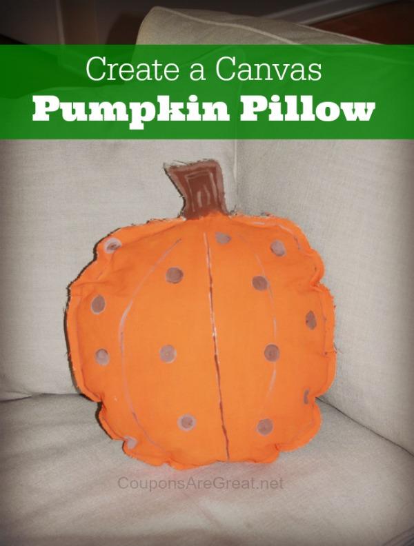 make a canvas pumpkin pillow