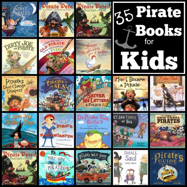 Here is a great list of 35 pirate books for kids.  You are sure to find a new family favorite tale about pirates from one of these selections