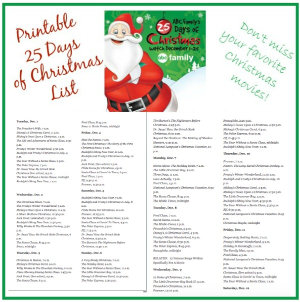 print this years abc family 25 days of christmas schedule so you dont miss - Abc 25 Days Of Christmas
