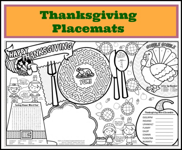 photograph about Free Printable Thanksgiving Placemats identified as Printable Thanksgiving Placemats for Little ones