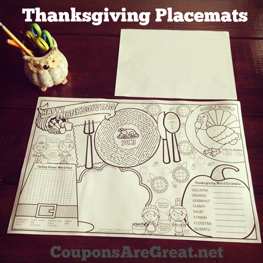 graphic relating to Free Printable Thanksgiving Placemats known as Printable Thanksgiving Placemats for Small children