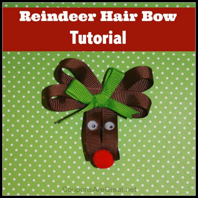 This DIY Reindeer hair bow tutorial walks you through the steps to making the cutest reindeer hair bow around! A red nose makes it a Rudolph.