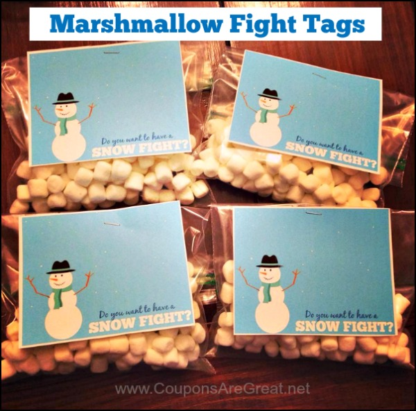 This free printable tag is perfect for your next marshmallow snow fight!