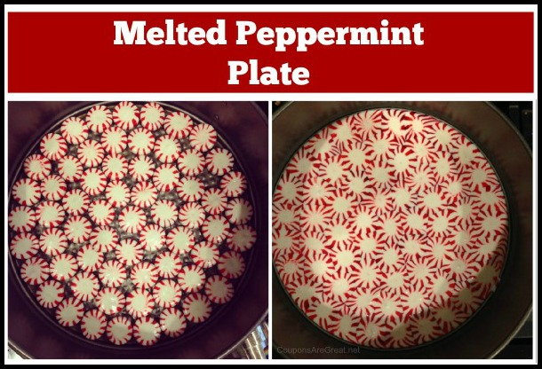 melted peppermint plate