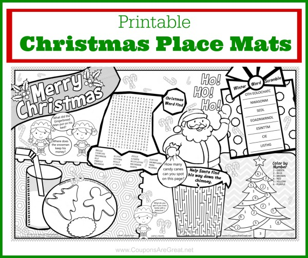This printable christmas placemat is guaranteed to keep kids entertained this Christmas! From word searches to coloring, this has it all.