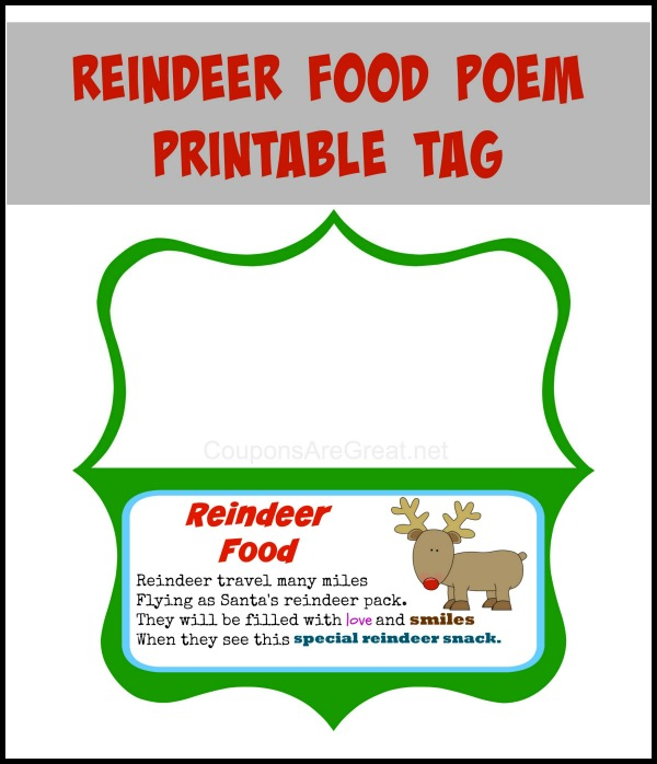 poem printable magic reindeer food free printable reindeer food poem