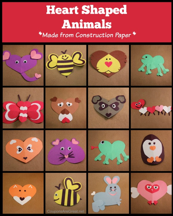 Heart shaped animals for valentines day are fun to create with construction paper.