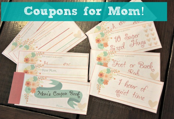 Coupons for Mom are a great way to show how much your care. Give the gift of breakfast in bed, an hour of quiet time, and some personalized activities of your choose with the Fill In The Blank coupons!