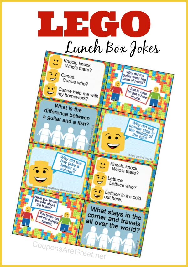 graphic about Lunch Box Jokes Printable named Printable LEGO Lunch Box Notes getting LEGO Jokes