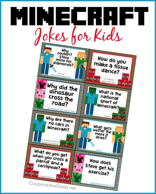 graphic about Lunch Box Jokes Printable titled Printable Minecraft Lunchbox Jokes