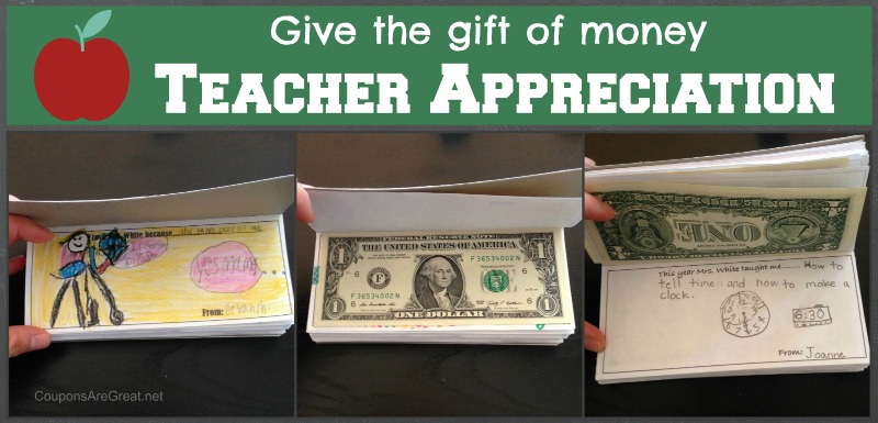 Go above and beyond for teacher appreciation when you give a book of child illustrations and writings combined with money!