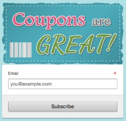 coupons are great email sign up