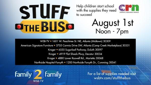 Stuff the bus in Atlanta on August 1, 2015. Help kids in need!