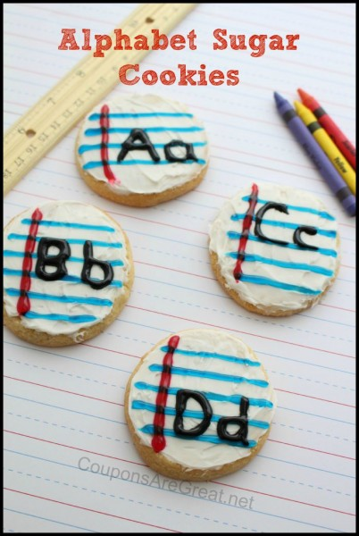 These alphabet sugar cookies for kids are PERFECT for heading back to school. The tip for getting the white to not smear is genius!