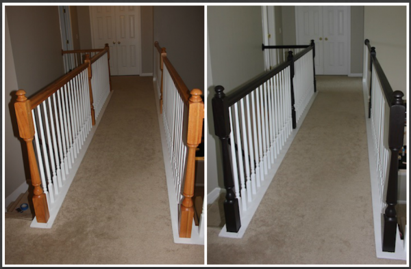 stained railings before and after