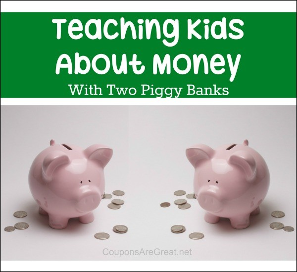 teaching kids money two piggy banks