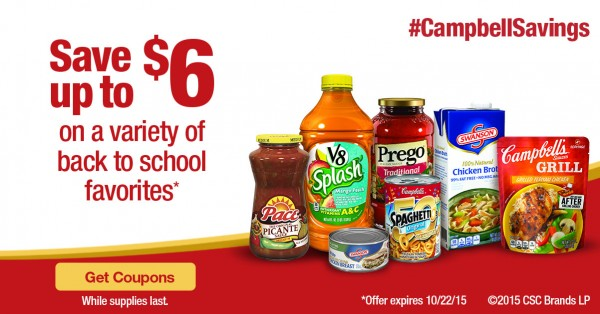 These Campbells Coupons will save money while you are back to school shopping, planning, and preparing.  #CampbellSavings