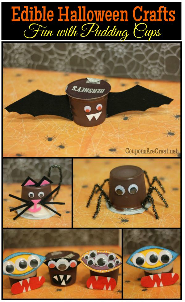Have spooktacular time with this edible Halloween craft. Turn plain pudding cups into bats, spiders, monsters, and cats with only a few supplies.