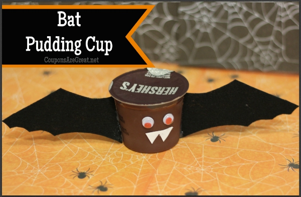 Can you believe how easy it is to make a halloween bat craft out of a pudding cup?