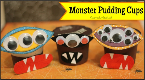 This halloween craft is easy! Make monster pudding cups that are silly...or scary!