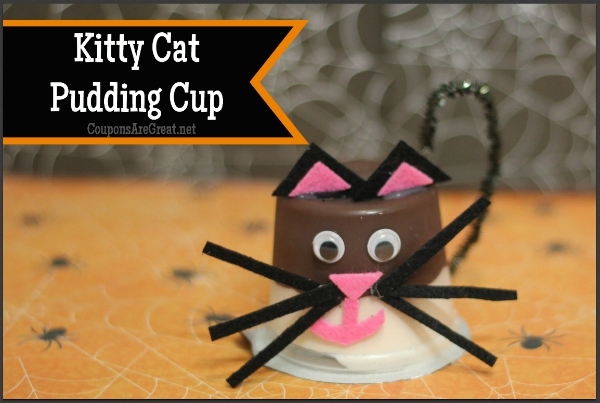 A witch has her cat and this Halloween kitty cat pudding cup craft is awesome.