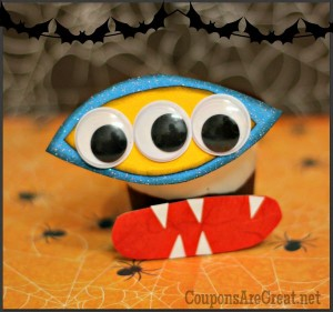 This is a great use of a pudding cup - turn it into a Halloween monster!