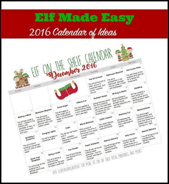 Great Calendar Ideas : Printable elf on the shelf calendar of ideas elfontheshelf